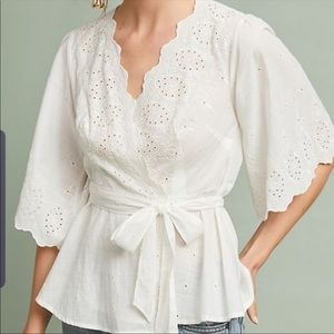 Anthropologie Meadow & Rue White Loire Wrap Top